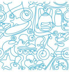 seamless pattern art line sports sketch vector image