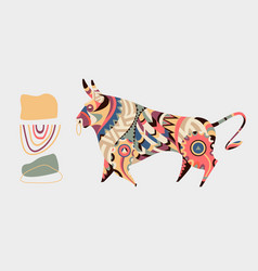 set bull with simple shapes in abstract vector image