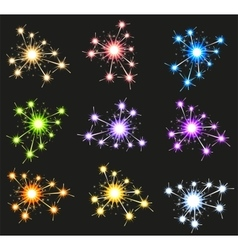 Set fireworks sparkler on black background vector image