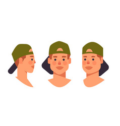 Set guy in cap head avatar front side view male vector