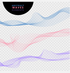 Set of abstract lines waves on transparent vector