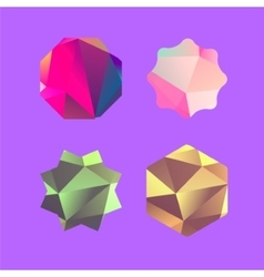 Set of lowpoly badges for attention vector