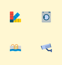 Set of technology icons flat style symbols with vector