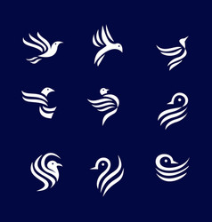 simple bird logo set vector image