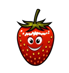 Smiling strawberry with a green stalk vector