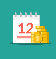 stack of coins on the background of the calendar vector image