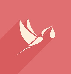 Stork and baby logo sign pink vector