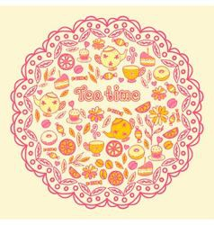 Tea time tea sweets lemon cake vector