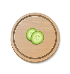two realistic 3d slice juicy cucumbers icon vector image