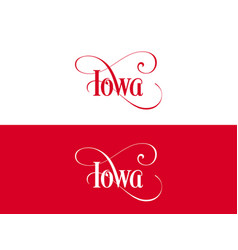 typography of the usa iowa states handwritten on vector image