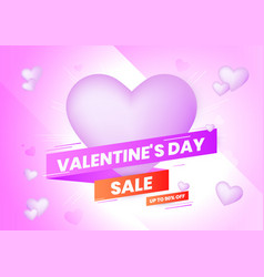 valentines day sale background with heart and vector image