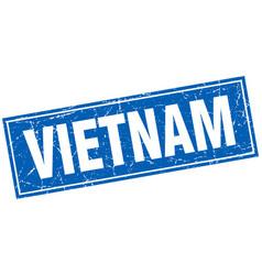 vietnam blue square grunge vintage isolated stamp vector image