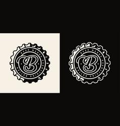 Vintage brewery monochrome print vector