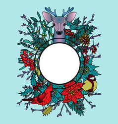 Winter colorful mock up with deer and birds vector