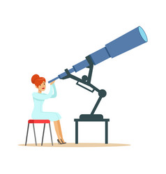 Woman astronomer looking through telescope vector