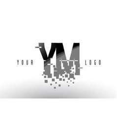 ym y m pixel letter logo with digital shattered vector image