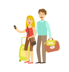 young couple with travel bags traveling colorful vector image