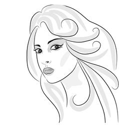 beauty girl sketch vector image