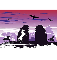 Black horses near rocks vector image
