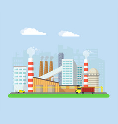 Factory from the outside pipes and blast furnaces vector