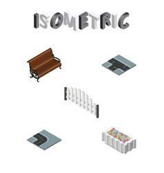 isometric architecture set of barricade flower vector image