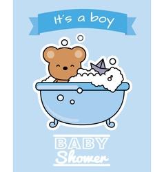 Bear in the bath vector image vector image