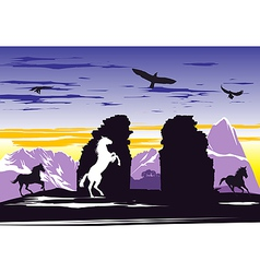 Black horses near rocks vector image vector image