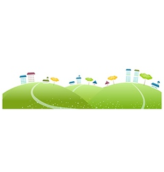Buildings on green landscape vector image