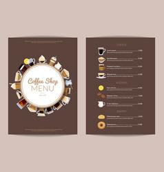 coffee shop vertical menu template vector image vector image