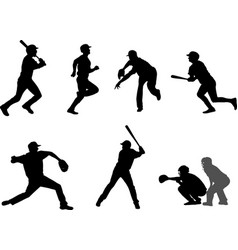 baseball silhouettes set 7 vector image