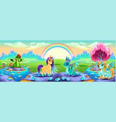 landscape of dreams with fantasy animals vector image vector image