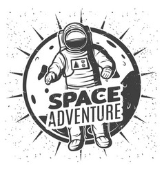 monochrome vintage space research label template vector image