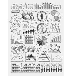 Sketch diagrams infographics vector image