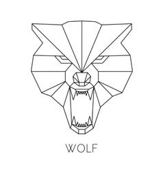 Wolf head geometric style print t-shirt vector