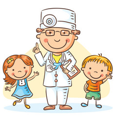 cartoon doctor with happy little children vector image