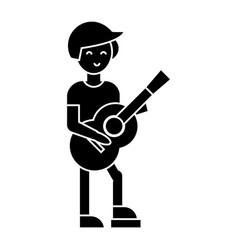 guitar player flamenco icon vector image vector image