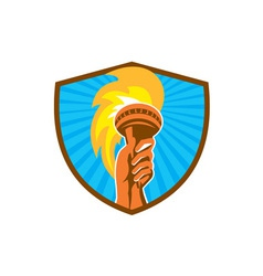 Hand Holding Burning Flaming Torch Shield Retro vector image vector image
