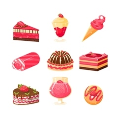 Strawberry Dessert Set vector image vector image