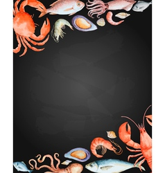 Watercolor set of seafood vector image