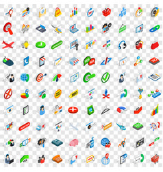 100 business plan icons set isometric 3d style vector