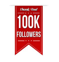 100k followers social media banner celebration vector image