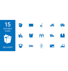 15 delivery icons vector