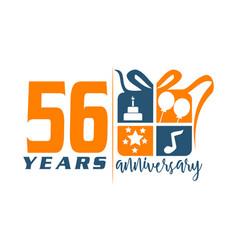 56 year gift box ribbon anniversa vector