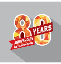 80th Years Anniversary Celebration Design vector image