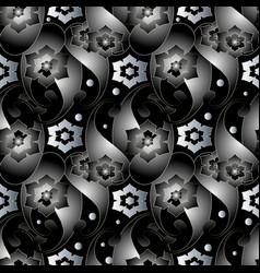 abstract 3d paisley seamless pattern dark black vector image