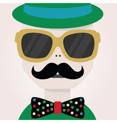 Abstract close up hipster male face icon vector