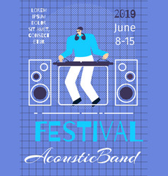 acoustic band music festival poster flat template vector image