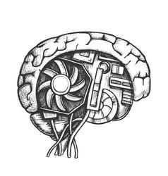 Ai cyberntic brain side view monochrome vector
