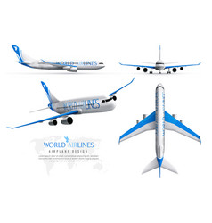 airplane realistic identity set vector image
