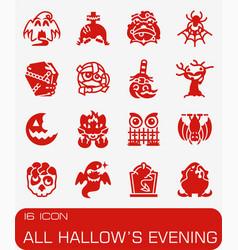 All hallows evening icon set vector